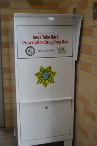 The prescription drop box located in the lobby of the Marshall County Sheriff's Offic resembles a mailbox, and offers residents the opportunity to dispose of unused medications in a secure and environmentally responsible fashion 24/7. It is an anonymous service and contact with law enforcement or office personnel is not required.
