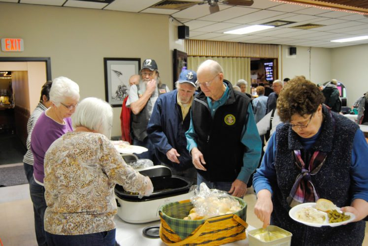 A large crowd of veterans and members of the community gathered Friday for the American Legion Riders' turkey and noodles dinner. The event raised money for veteran-related activities and programs. The Riders are planning a spaghetti dinner for 5 p.m., Friday, March 16