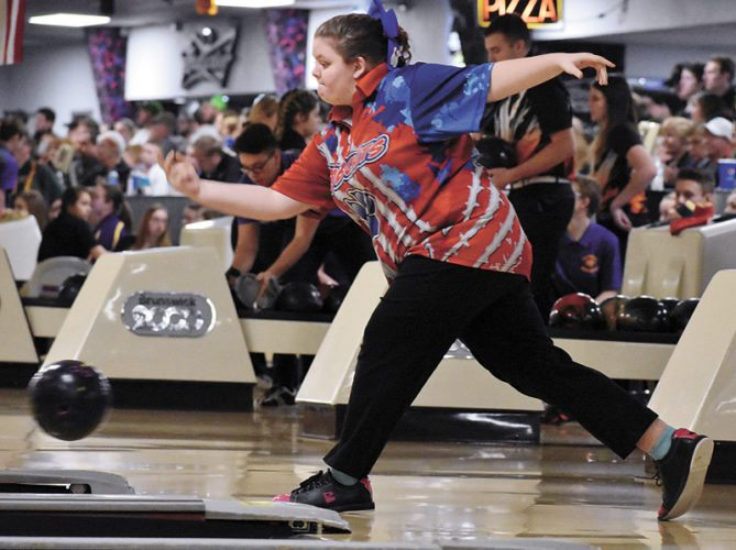 T-R PHOTO BY THORN COMPTON • Marshalltown senior Karlie Potter bowls in her first game of the Iowa High School State Bowling Tournament on Wednesday. Potter, only the second Bobcat girl to make state, finished sixth with a score of 415.