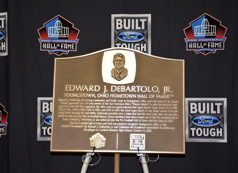 Tribune Chronicle / John Vargo  The plaque placed at Cardinal Mooney to honor Edward J. Debartolo Jr.