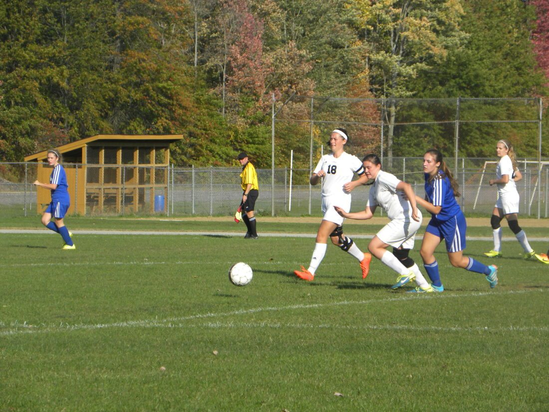 Bristol's Kayla Sloan fights for the ball.