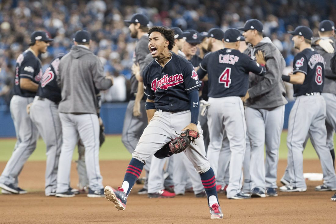 Cleveland Indians shortstop Francisco Lindor celebrates after the Indians defeated the Toronto Blue Jays 3-0 during Game 5 of the baseball American League Championship Series, in Toronto on Wednesday, Oct. 19, 2016. (Mark Blinch/The Canadian Press via AP)