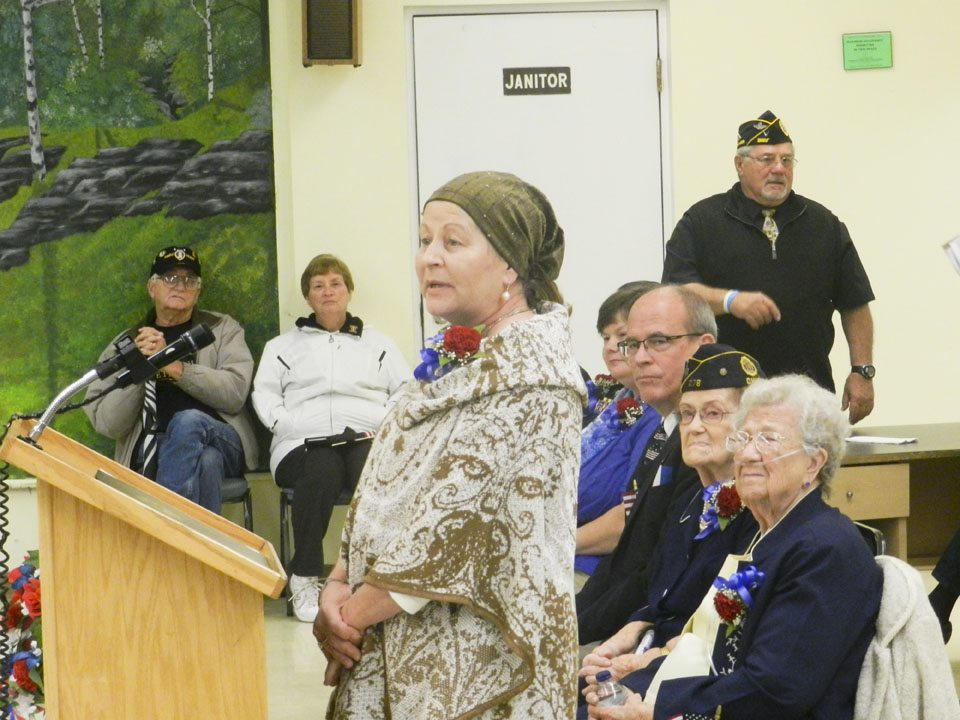 Vietnam era veteran Connie Forand Sarty speaks during the dedication ceremony.