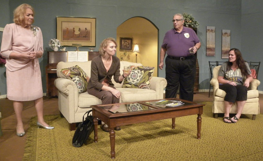 "Tribune Chronicle/Andy Gray From left, Emily Love, Amy Burd, Jim Penn and Lindie Schwarten are shown in a scene from ""Mom's Gift,"" which opens Friday at Trumbull New Theatre."