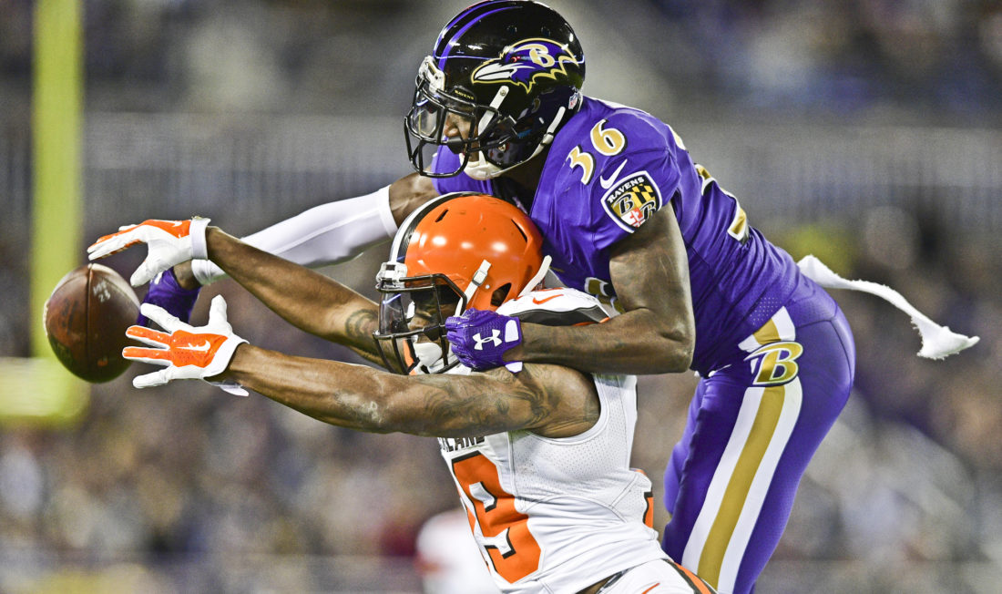 BALTIMORE, MARYLAND - NOVEMBER 10, 2016: Corey Coleman #19 of the Browns is interfered with by defensive back Tavon Young #36 of the Ravens during the first half of their game Thursday night at M&T Bank Stadium. (David Dermer/Warren Tribune Chronicle)