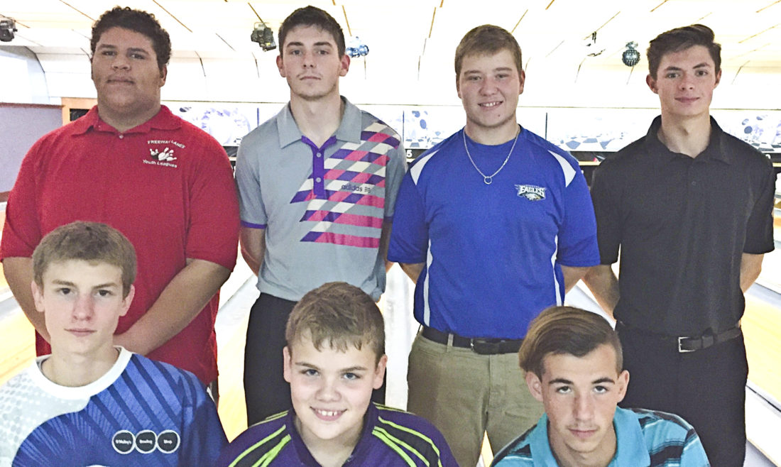Boys qualifiers and the alternate for the Junior Masters finals today at Freeway Lanes include (front, from left) Mason Persons, Charles Pawlosky, alternate Blake Maurer, (rear, from left) Shon Moore, Adrian Willoughby, Caleb Johnson and Tavish Burd.