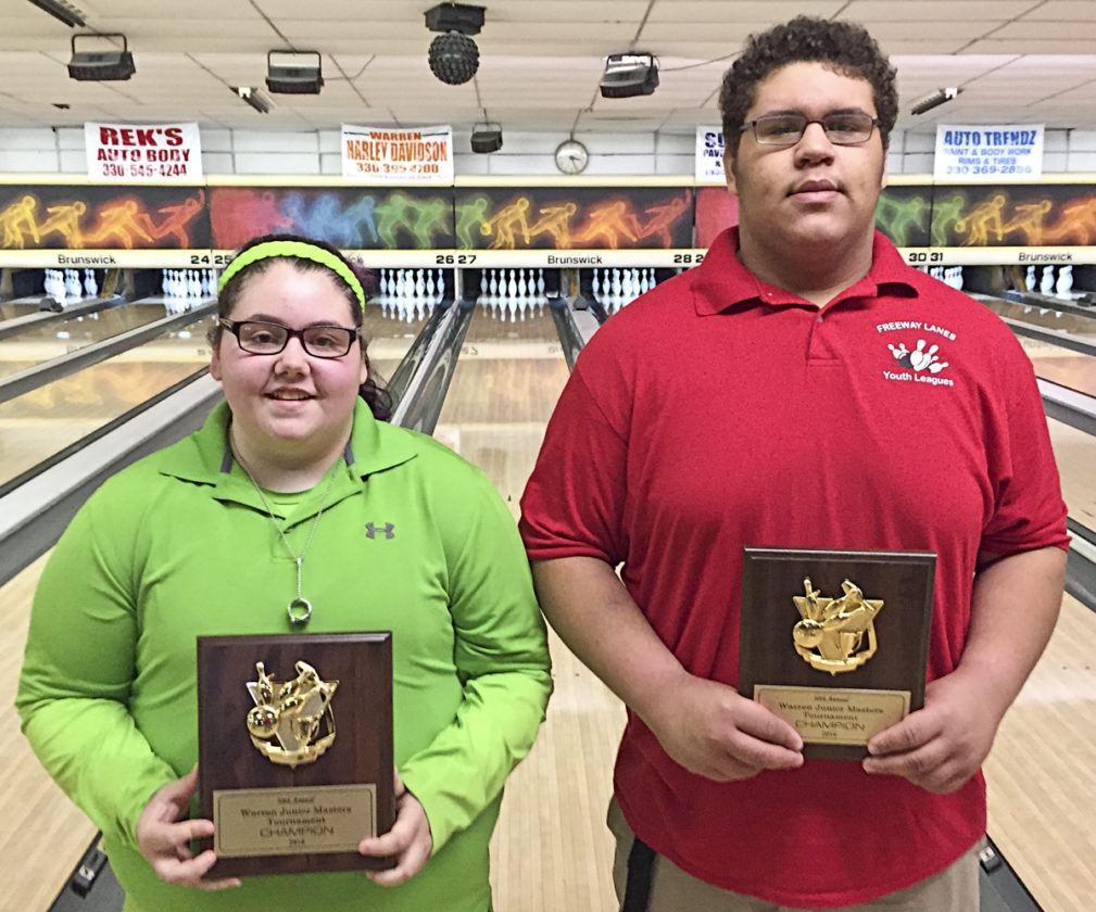 Special to Tribune Chronicle Susan Decker and Shon Moore won the 30th annual Junior Masters bowling titles on Sunday at Freeway Lanes.