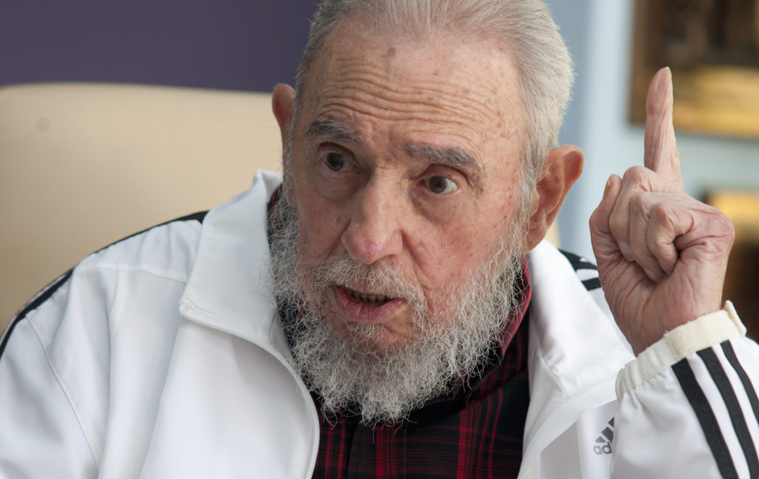 FILE - In this July 11, 2014 file photo, Cuba's Fidel Castro speaks during a meeting with Russia's President Vladimir Putin, in Havana, Cuba. Social media around the world have been flooded with rumors of Castro's death, but there was no sign Friday, Jan. 9, 2015, that the reports were true, even if the 88-year-old former Cuban leader has not been seen in public for months. (AP Photo/Alex Castro, File)
