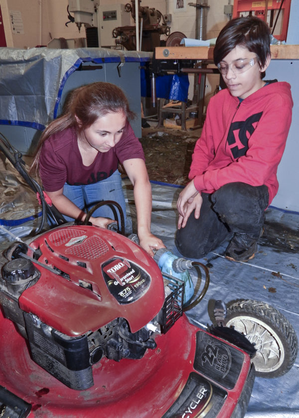 Girard High School Robocats team members Cheyenne Moore, 16, a junior, left, and Jordan Marsh, 14, freshman.