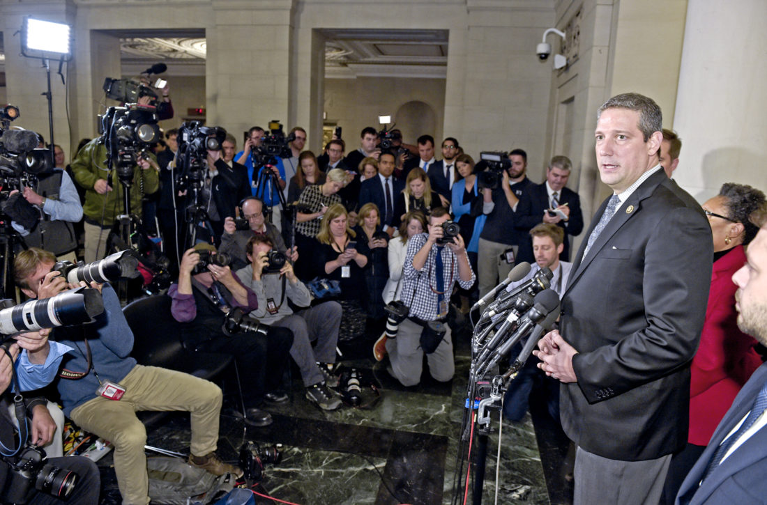 Rep. Tim Ryan, D-Ohio, speaks to reporters following the House Democratic Caucus elections on Capitol Hill in Washington, Wednesday, Nov. 30, 2016, for House leadership positions. Ryan challenged House Minority Leader Nancy Pelosi of Calif., but lost 134-63. (AP Photo/Susan Walsh)