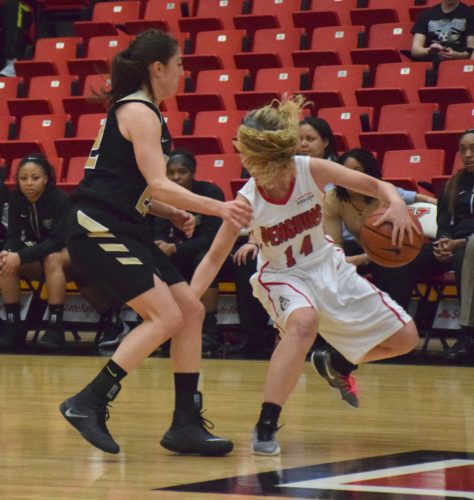 Tribune Chronicle / John Vargo Youngstown State guard Melinda Trimmer has her hair flop in her face as she's guarded by Oakland's Taylor Gleason during this Feb. 23 game in Youngstown.