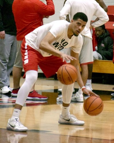 Tribune Chronicle / John Vargo Youngstown State's Devin Haygood works on a drill Friday during a practice at Beeghly Center.
