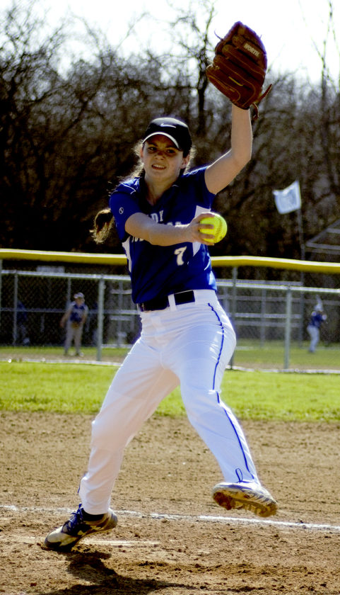 Tribune Chronicle / Bob Ettinger Grand Valley's Abby Triskett fires a pitch Wednesday against Maplewood.