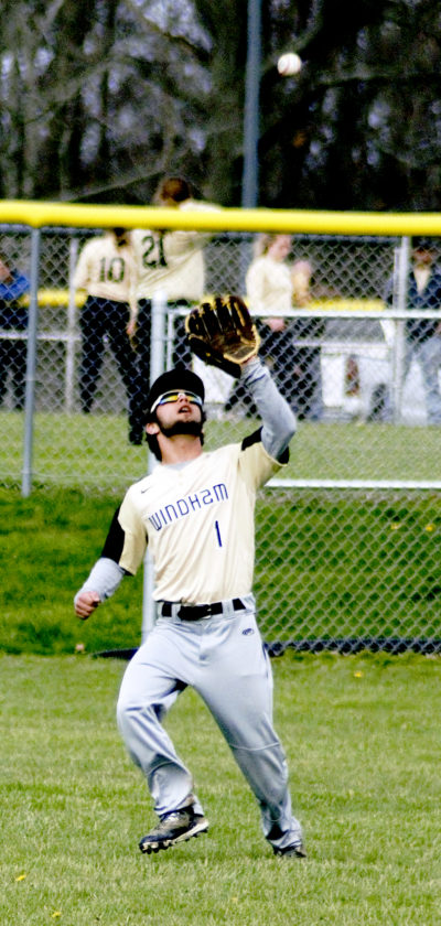 Windham center fielder Phillip Maiorca settles under the ball to record an out against Grand Valley in Northeastern Athletic Conference action on Thursday at Grand Valley.