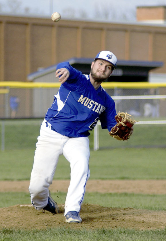 Grand Valley reliever Tyler Butler fires to the plate against Windham in Northeastern Athletic Conference action at Grand Valley on Thursday.