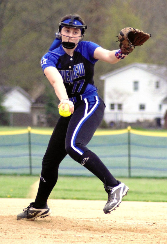 Lakeview right-hander Cait Kelm fires a pitch against Howland in Cortland on Wednesday.