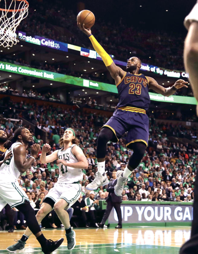 AP Cleveland's LeBron James soars to the basket during the second half of Game 5 of the NBA  Eastern Conference Finals Thursday in Boston. Cleveland beat Boston, 135-102, to return to the NBA Finals.