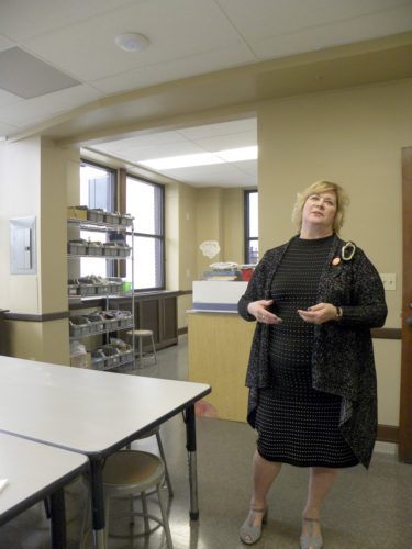 Tribune Chronicle/Andy Gray SMARTS Director Becky Keck talks about what the educational program will be able to do at its new location in the Ohio One Building in downtown Youngstown. A ribbon cutting for the new location is scheduled for Thursday, June 1.