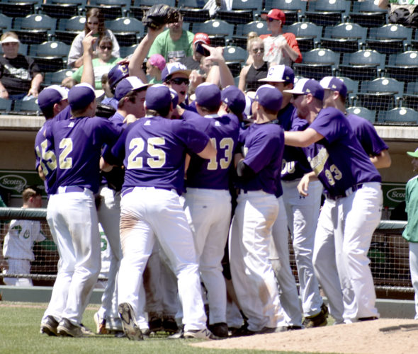 Tribune Chronicle / Eric Murray Members of the Champion High School baseball team celebrate after their 2-1 victory Thursday over Clear Fork in a Division IIIstate semifinal at Huntington Park in Columbus. The Golden Flashes will face Berlin Hiland on Saturday at 10 a.m. in the state championship game.