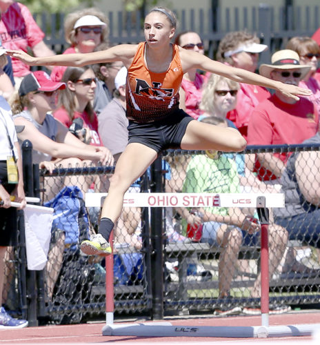 MICHAEL G. TAYLOR- 06-02-17 OHSAA State Track & Field Championships. D2 Girls Hurdles Preliml, Newton Falls'  Tori Blandine qualifies for 300m and 100m hurdles' final.