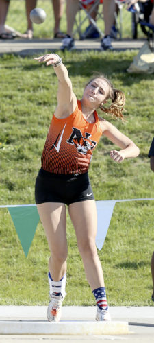 MICHAEL G. TAYLOR- 06-03-17 OHSAA State Track & Field Championships. D2 Girls Shotput, Newton Falls' Izzy Kline throws shotput to a personal best to finish 2nd