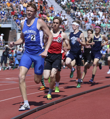 MICHAEL G. TAYLOR- 06-03-17 OHSAA State Track & Field Championships. D3 Boys 800m, start of the final lap of the race for Maplewood's Jake Hall. He ran a 1:55.80  minutes to finish 4th.