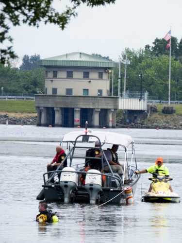 Tribune Chronicle/Andy Gray Nearly 50 first responders searched Mosquito Lake on Thursday for a missing 16-year-old boy.