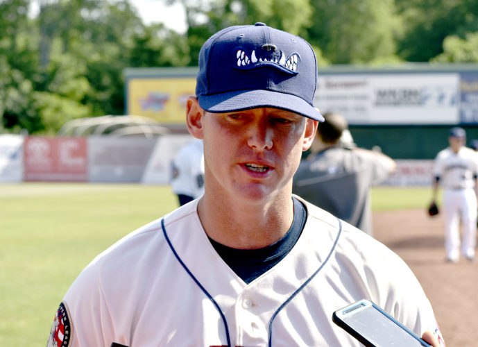 Tribune Chronicle / Joe Simon New Mahoning Valley Scrappers manager Luke Carlin talks to the media Saturday at Eastwood Field. Carlin's first professional managing assignment is with the Scrappers who begin the season Monday at West Virginia. The team's home opener is Wednesday.