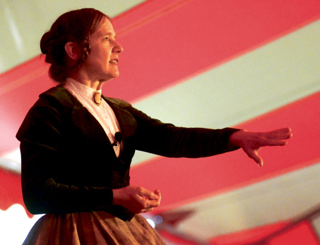 Tribune Chronicle photos / R. Michael Semple Susan Marie Frontczak portrays gothic novelist Mary Shelley at the Ohio Chautauqua event Thursday in Warren. Frontczak portrayed scientist Marie Curie at Tuesday's performance.