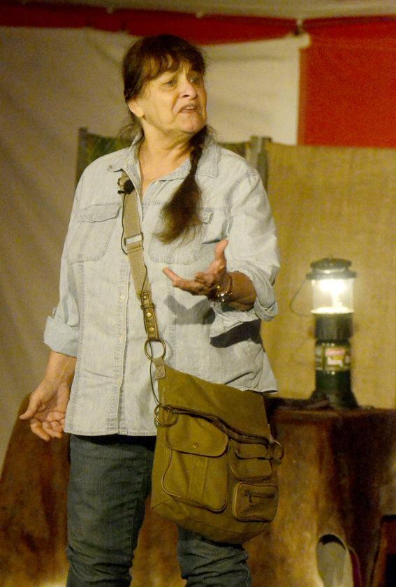 062317...R FRI CHAUT 1...Warren..06-23-17...Dianne Moran portrays Dian Fossey at the Ohio Chautauqua event Friday in Warren...by R. Michael Semple