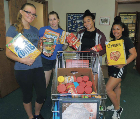 Niles McKinley High School volunteers show some of the donations collected by postal carriers for Niles Community Services. From left are Alex Dailey, Cassie Banks, Abryanna Penn and Nyah Chalker.   Tribune Chronicle photos /  Nancilynn Gatta
