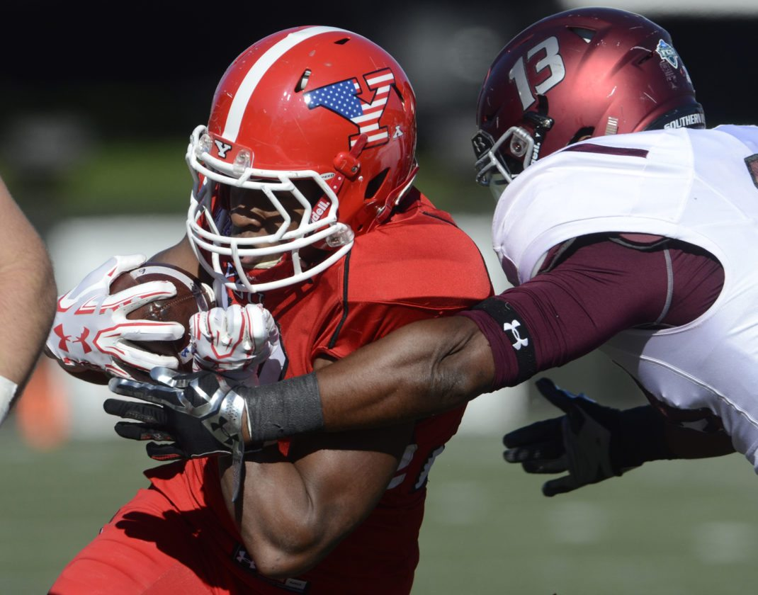 Tribune Chronicle file / R. Michael Semple Youngstown State running back Tevin McCaster, shown here in a game last season, must take over for the loss of two all-conference players this year. McCaster, a New Castle (Pa.) native, hopes to build off a solid 2016 campaign.