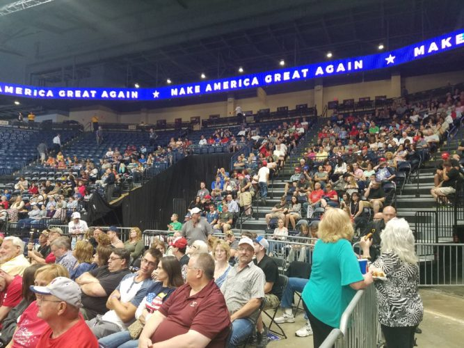 Crowd gathers inside the Covelli Centre in Youngstown awaiting President Trump's arrival for a 7 p.m. speech.