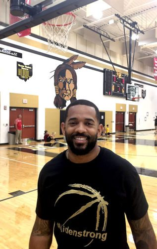"""Tribune Chronicle / John Vargo Former WGH and OSU standout Daniel """"Boom"""" Herron  helped out during Monday's basketball camp in Warren. After spending a couple of years in the NFL, he's getting used to life after football."""