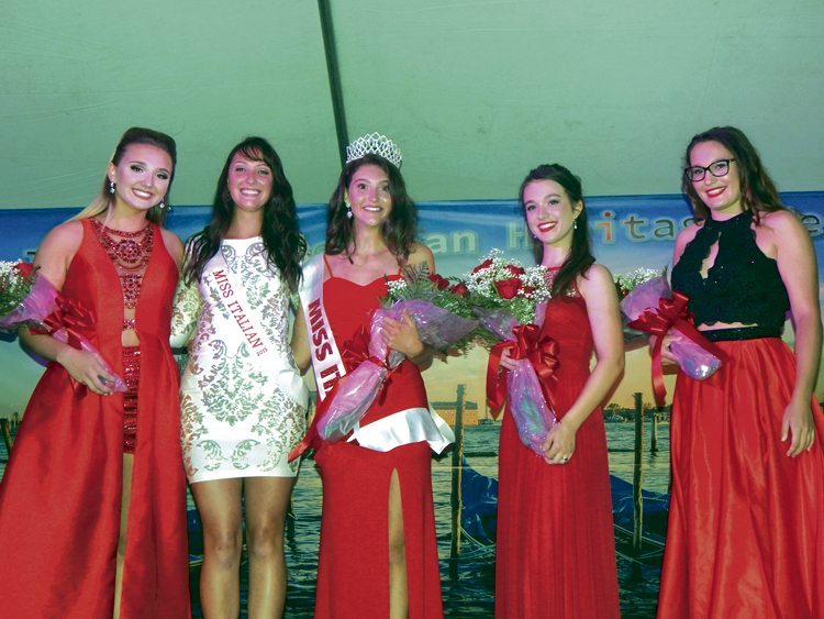 The  33rd annual Warren Italian-American Heritage Festival at Courthouse Square kicked off Thursday with the Miss Italian contest. From left are Mary Blair of Niles; 2015 Miss Italian Rebecca Currington; 2017 Miss Italian winner Jillian DiCesare of Warren; first runner-up Marissa Gray of Warren; and Caitlin Seifert of Niles. Four young women competed at the event.