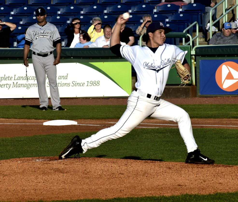Tribune Chronicle / Eric Murray Mahoning Valley Scrappers pitcher Eli Morgan throws against the Yankees.