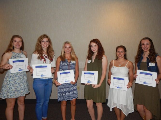 Tribune Chronicle / Bob Coupland The Trumbull County Farm Bureau held its annual banquet recently at Enzo's Restaurant in Warren. Scholarships were presented to, from left, April Larrison of Hartford, Noelle Barnes of Bristol, Chloe Williams of Kinsman, Julie Smallsreed of Braceville, Rachel Bockleman of Fowler and Jessica Wylie of Hubbard Township.