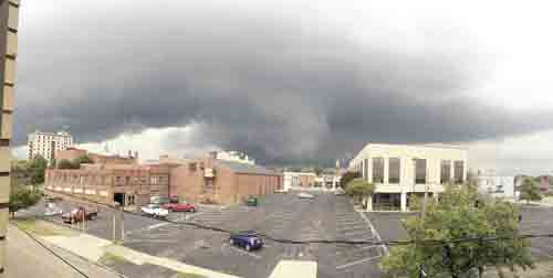 This large wall cloud, seen over downtown Warren around 7 p.m. Thursday, prompted the Trumbull County 911 Center to sound the county's tornado sirens and resulted in two tornado warnings for Trumbull County issued by the National Weather Service. The NWS confirmed a tornado touched down in Hartford at 7:18 p.m.   Tribune Chronicle / John Vargo