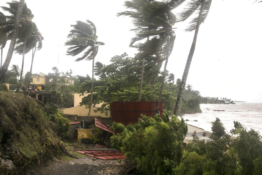 Winds brought by Hurricane Irma blow palm trees in Samana, Dominican Republic, Thursday, Sept. 7, 2017. Irma cut a path of devastation across the northern Caribbean, leaving thousands homeless after destroying buildings and uprooting trees. Irma is flooding parts of the Dominican Republic as it roars by just off the northern coast of the island it shares with Haiti. (AP Photo/Tatiana Fernandez)