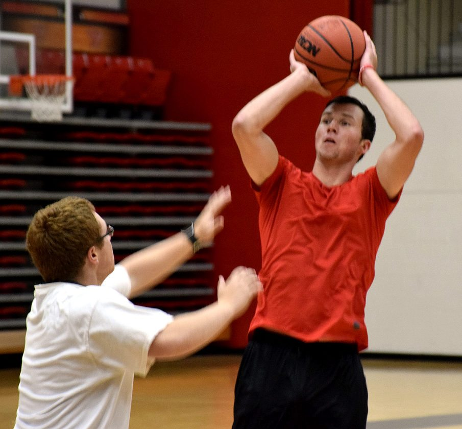 Tribune Chronicle / John Vargo YSU's Dan Ritter, a South Range High School graduate, shoots a jumper during Thursday's workout at Youngstown State University. Ritter is one of seven walk-on players on the men's basketball team.