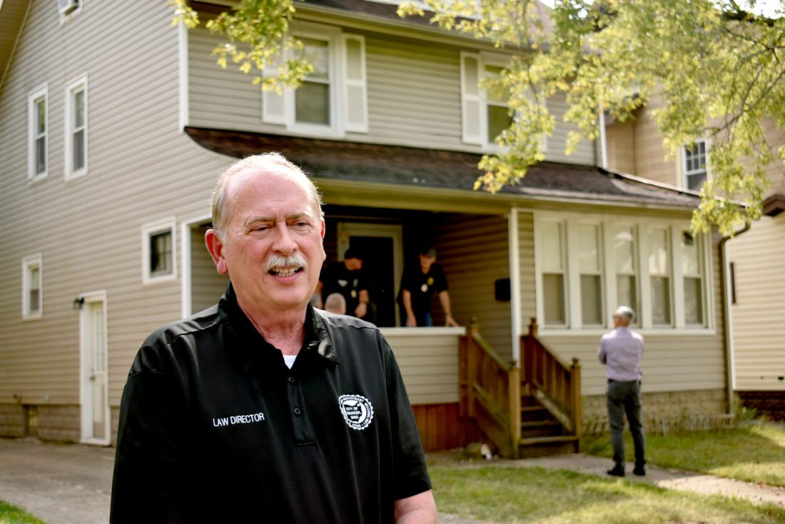 Tribune Chronicle / Renee Fox Gregory V. Hicks, Warren law director, talks about a nine-month long investigation at 765 Kenilworth Ave. SE, Warren, outside the home officials described as a brothel and said is known online for its stripper pole. The house's occupant was arrested on a charge of promoting prostitution, but there is an ongoing investigation. The city sought and was granted a temporary restraining order from Trumbull County Common Pleas Court that prohibits anyone from entering the property.