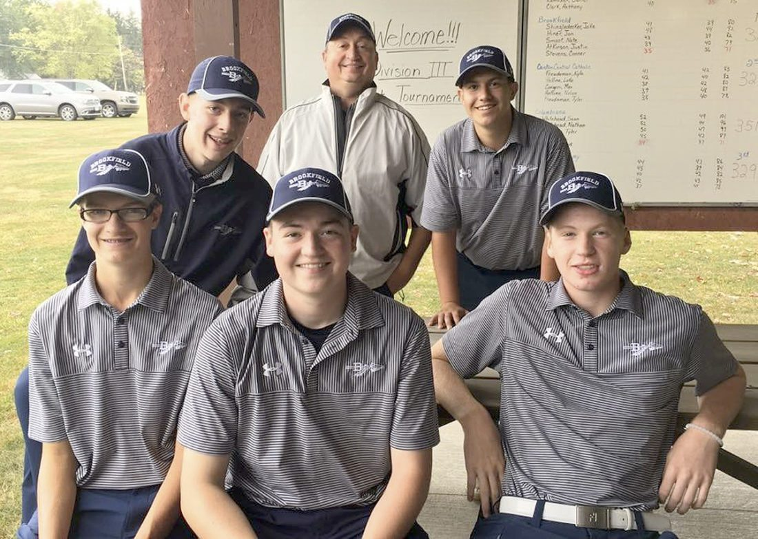 Special to Tribune Chronicle The Brookfield boys golf team repeated as Division III district champions on Thursday and will play in the state tournament next week in Columbus. Team members include (front, from left) Justin Atkinson, Nate Smoot, Conner Stevens, (rear, from left) Jake Shingledecker, coach Larry Smoot and Jonathan Hiner.