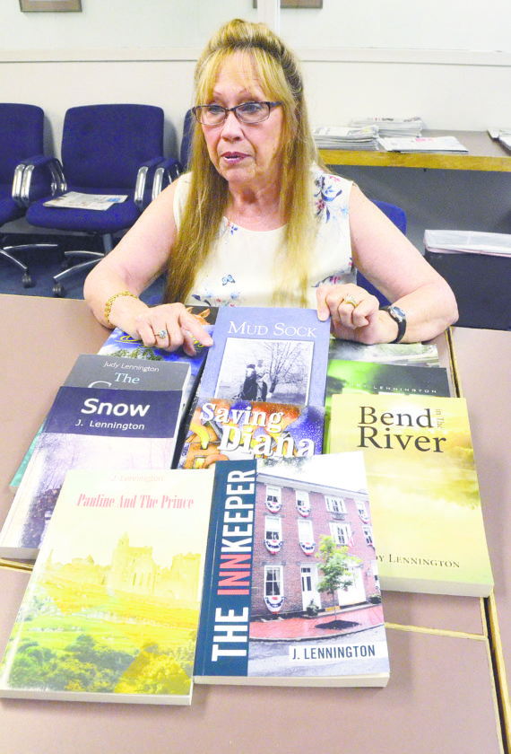 "Judy Lennington, then of Johnston, wrote her first novel after retiring in 2009 from a factory in Warren. She's just released her 14th book, ""Bend in the River,"" a historical tale set in Wellsville in 1847."