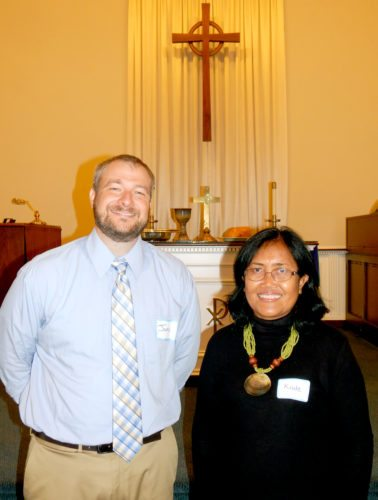 Tribune Chronicle / Bob Coupland First Presbyterian Church of Mineral Ridge has welcomed the Rev. Kade Mastra from Bali in the Indonesian islands for three weeks through a program of the Synod of the Covenant and Mission to the Presbyterian Church USA. Mastra will be guest speaker 10 a.m. Sunday and Oct. 29 at the church. From left are the Rev. Jamie Milton, pastor of the church, and Mastra.