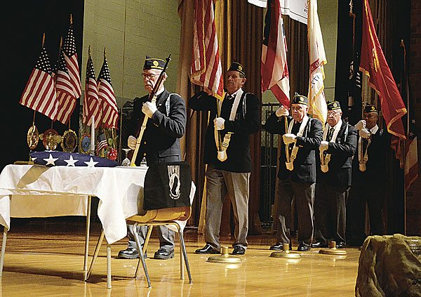"""110917...R LORDS-VETS 1...Lordstown...11-09-17...Trumbull County American Legion Honor Guard Present the Colors during the """"Take a Vet to School Day Assembly"""" Thursday morning at Lordstown HS...by R. Michael Semple"""