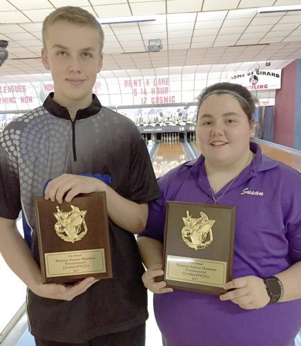 Special to Tribune Chronicle Susan Decker, right, and Conner Pawlosky won the Warren Junior Masters bowling titles on Sunday.