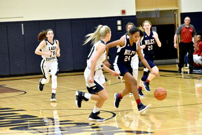 Tribune Chronicle / Marc Weems Niles' Madison Johnston (24) dribbles past the Warriors' Dana Sydlowski.