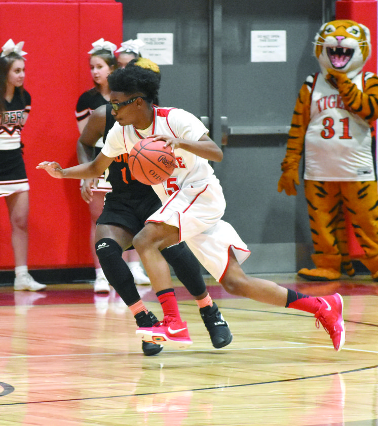 Tribune Chronicle / Joe Simon Elijah Whiteside of LaBrae drives to the basket Friday night against Howland's Samari Dean during the Vikings' 62-61 comeback victory over the Tigers.