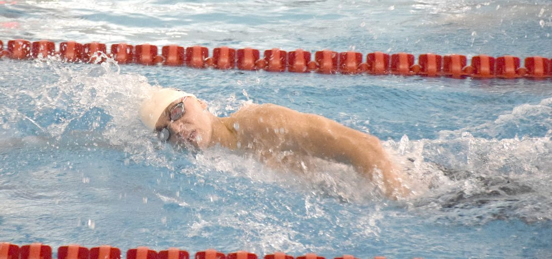 Boardman's Kyle Kimerer competes in Saturday's 200-yard boys freestyle at the Beeghly Natatorium at Youngstown State University.