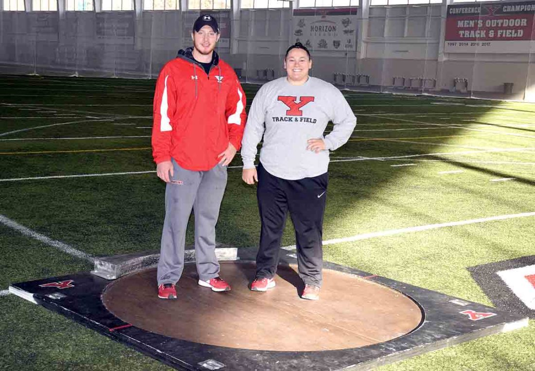 Tribune Chronicle / John Vargo Mineral Ridge graduate Ryan Booth, left, and Jaynee Corbett, right, have won multiple Horizon League championships between the two. The two are looking for big indoor and outdoor track and field seasons.